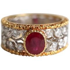 Buccellati Ring in 18 Carat Yellow Gold, White Gold, 1.20 carat Ruby, Diamonds