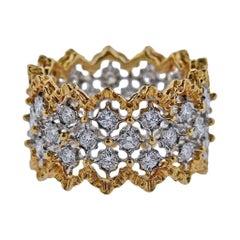 Buccellati Rombi Diamond Gold Wide Band Ring