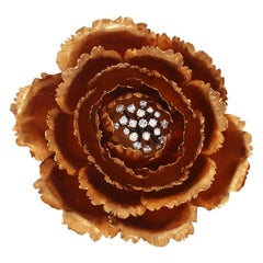 Buccellati Rose Gold Diamond Flower Pin