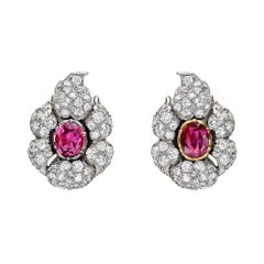 Buccellati Ruby and Diamond Cluster Earclips