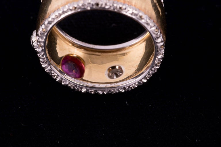 Renaissance Buccellati Ruby and Diamond Ring in 18 Karat Gold For Sale