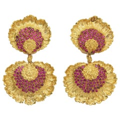Buccellati Ruby and Gold Floral Ear Pendants