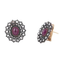 Buccellati Ruby and Rose Diamond Silver and Gold Earrings