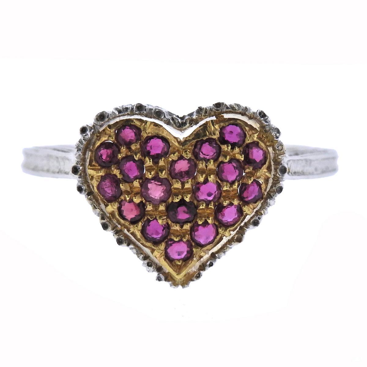 Buccellati Ruby Gold Heart Ring