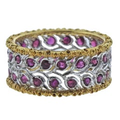 Buccellati Ruby Two-Color Gold Band Ring