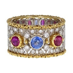 Buccellati Sapphire and Ruby Diamond Fancy Band Ring