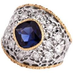 Buccellati Sapphire Diamond Gold Filigree Ring