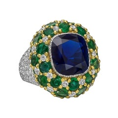 Buccellati Sapphire, Emerald and Diamond Cocktail Ring