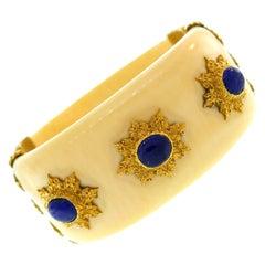 Buccellati Sapphire Yellow Gold Bangle Bracelet Bakelite