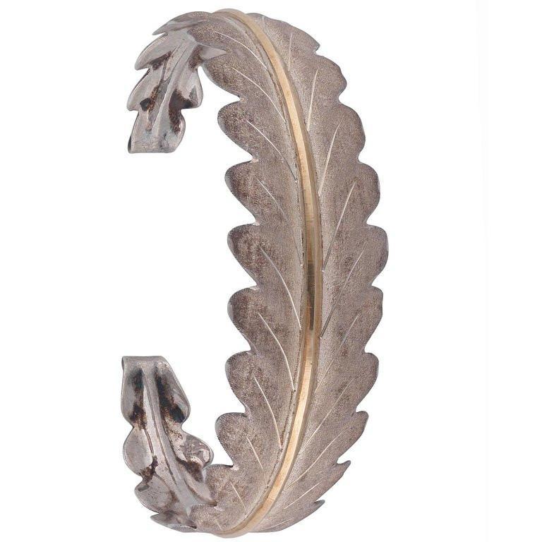 BERNARDO ANTICHITÀ PONTE VECCHIO FLORENCE Two tone silver and gold lined bangle, 18.7 gr