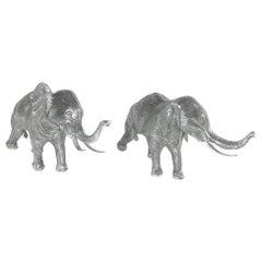 Buccellati Silver Animals Elephants Centerpiece Pair