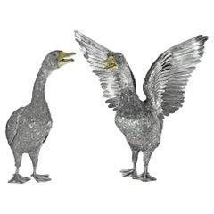 Buccellati Silver Furry Animals Swan Pair