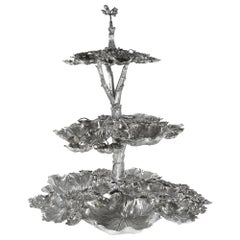Buccellati Silver Grape Vine Tiered Centerpiece