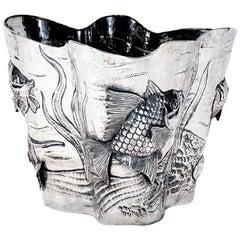 Buccellati Silver Sea Motif Champagne Bucket