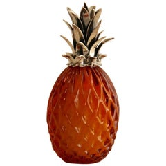 """Buccellati Sterling Silver and Murano Glass """"Pineapple"""" Place Card Holder"""