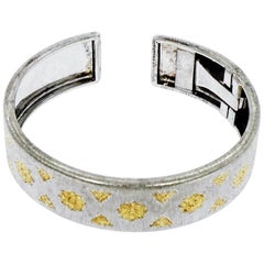 Buccellati Sterling Silver and Yellow Gold Open Cuff Bracelet