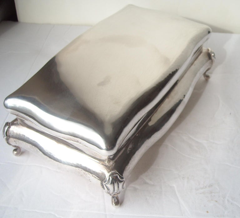 Italian Buccellati Sterling Silver Large Jewelry Box, Stamped For Sale