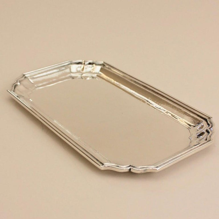 Buccellati sterling silver Villa Palladio Tray.  Perfect tray for serving a few drinks or at the bedside a glass or water.  One is available, special order for additional items. Comes with Buccellati presentation gift box   Designer: