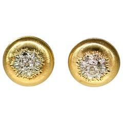 Buccellati Style Classic 18 Karat Gold and Diamond Button Earrings