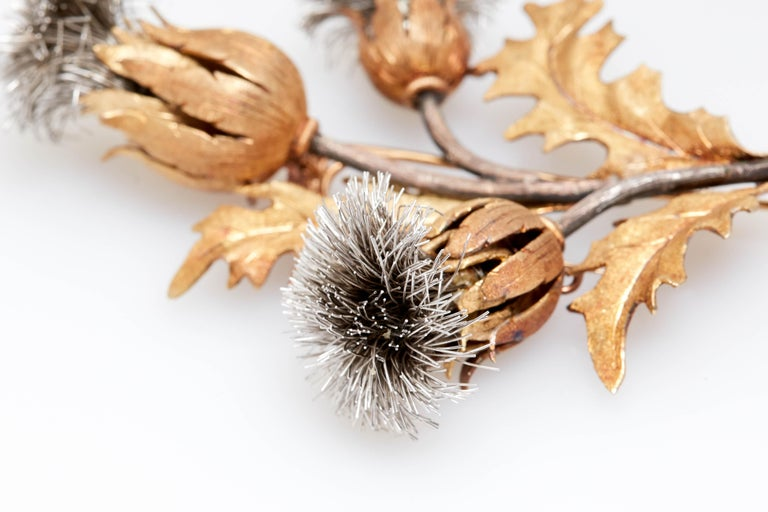 Buccellati Thistle Flower Brooch In Excellent Condition For Sale In New York, NY