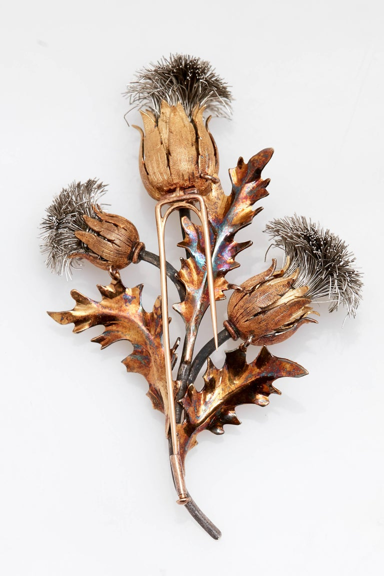 Buccellati Thistle Flower Brooch For Sale 1