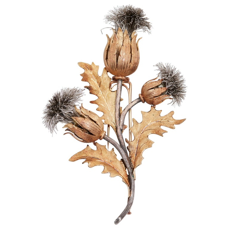 Buccellati Thistle Flower Brooch For Sale