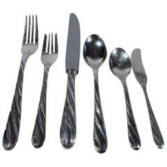 Buccellati Torchon Sterling Silver Dinner Set for 12 with 88 Pieces