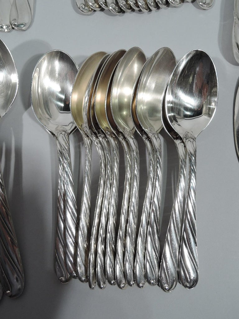 Buccellati Torchon Sterling Silver Dinner Set for 12 with 96 Pieces For Sale 2