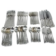 Buccellati Torchon Sterling Silver Dinner Set for 12 with 96 Pieces