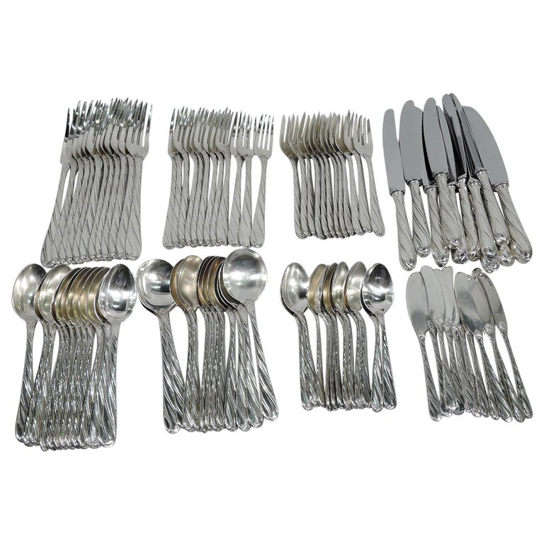 Buccellati Torchon Sterling Silver Dinner Set for 12 with 96 Pieces For Sale