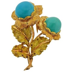 Buccellati Turquoise Gold Brooch Pin