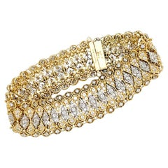 Buccellati Two Colors of Gold Bracelet All Set with Diamonds.