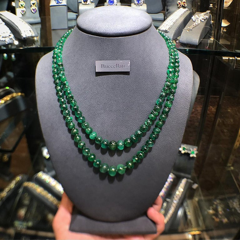Buccellati Two Strand Emerald Bead Necklace For Sale 2