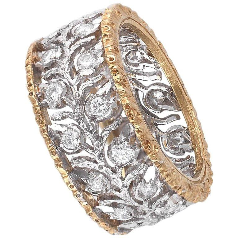 Contemporary Buccellati Two-Tone Gold and Diamond Cluster Band Ring For Sale