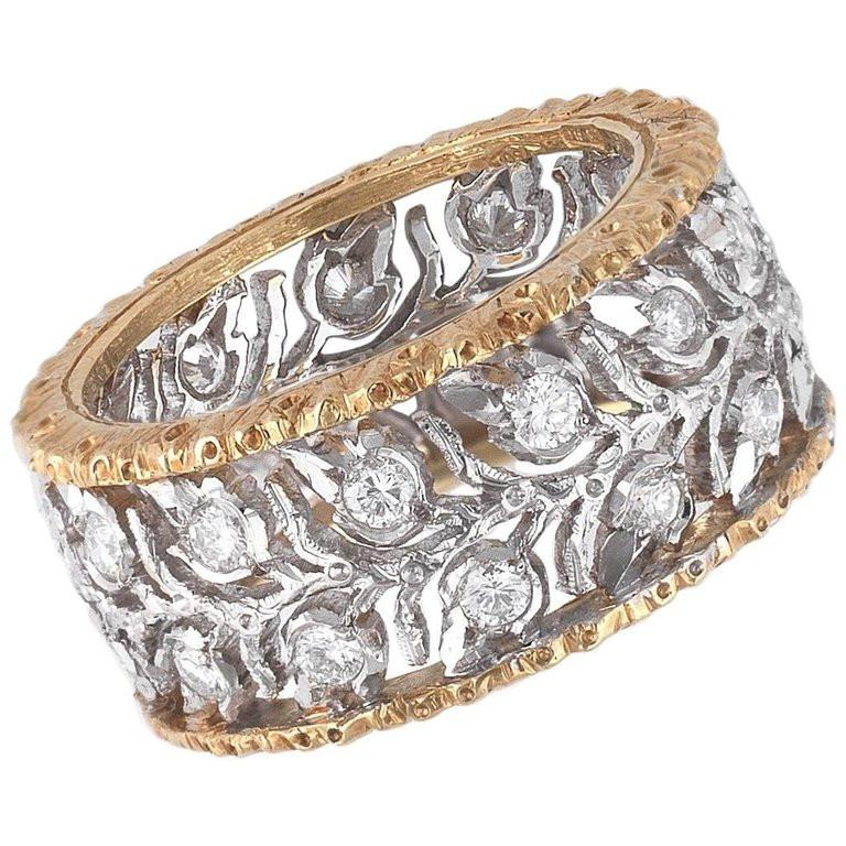 Buccellati Two-Tone Gold and Diamond Cluster Band Ring In Excellent Condition For Sale In Firenze, IT