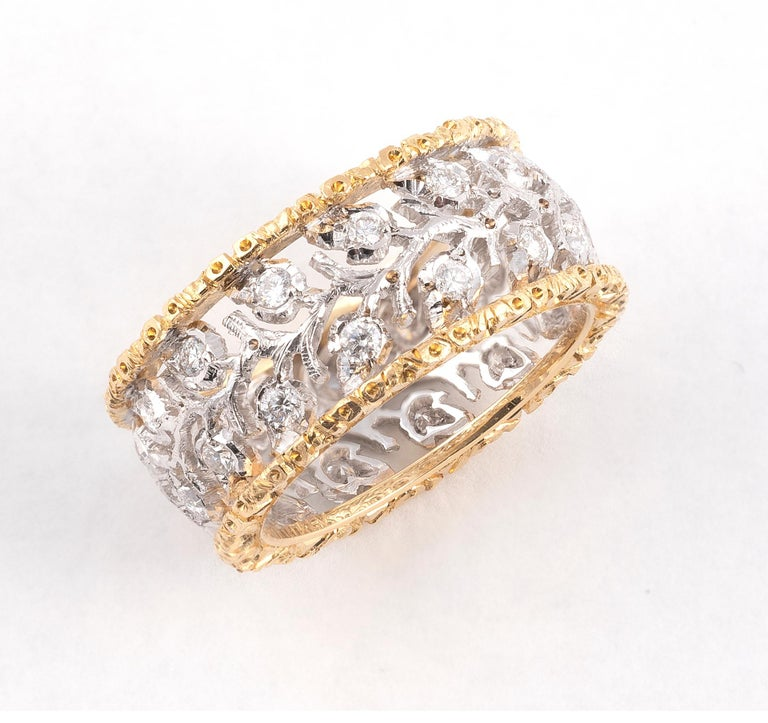 Retro Buccellati Two-Tone Gold and Diamonds Cluster Band Ring For Sale
