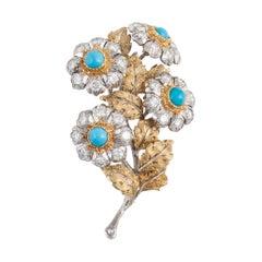Buccellati Two-Tone Gold Diamond Turquoise Brooch