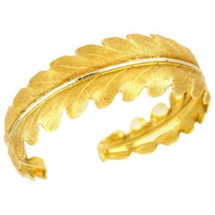 Buccellati Two-Tone Gold Leaf Shaped Bangle