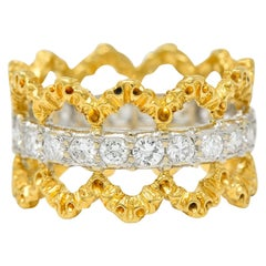 Buccellati Vintage 1.00 Carat Diamond 18 Karat Gold Italian Eternity Band Ring
