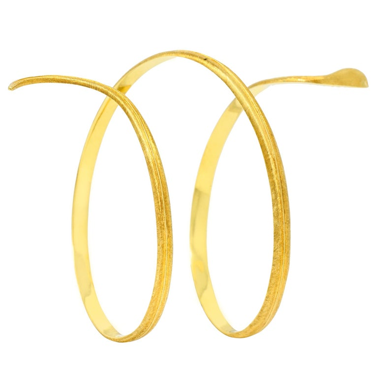 Contemporary Buccellati Vintage 18 Karat Yellow Gold Coiled Snake Armband Bracelet For Sale