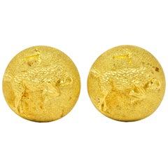 Buccellati Vintage 1970s 18 Karat Gold Italian Aries Ram Zodiac Cufflinks