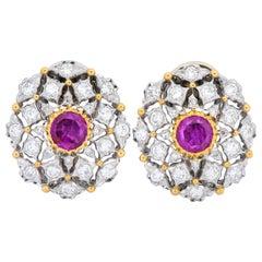 Buccellati Vintage 2.75 Carat Ruby Diamond 18 Karat Two-Tone Gold Earrings