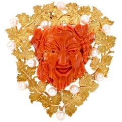 Buccellati Vintage Bacchus Roman God Natural Coral Akoya Pearl 18K Brooch Pendan