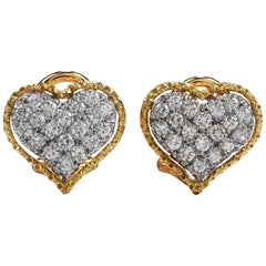 Buccellati Vintage Diamond 18 Karat Gold Heart Clip-On Earrings