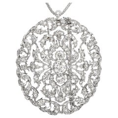 Buccellati Vintage Diamond Platinum Filigree Brooch and Pendant
