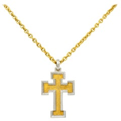 Buccellati Vintage Italian Platinum 18 Karat Gold Cross Pendant Necklace