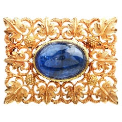 Buccellati Vintage No Heat Blue Sapphire 18k Gold Floral Square Brooch Pin