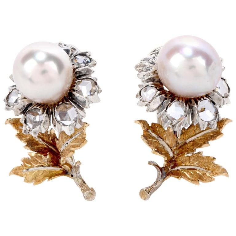 Buccellati Vintage Rose Cut Diamond Pearl 18 Karat Gold & Silver Flower Earrings For Sale