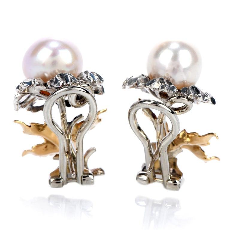 Artisan Buccellati Vintage Rose Cut Diamond Pearl 18 Karat Gold & Silver Flower Earrings For Sale