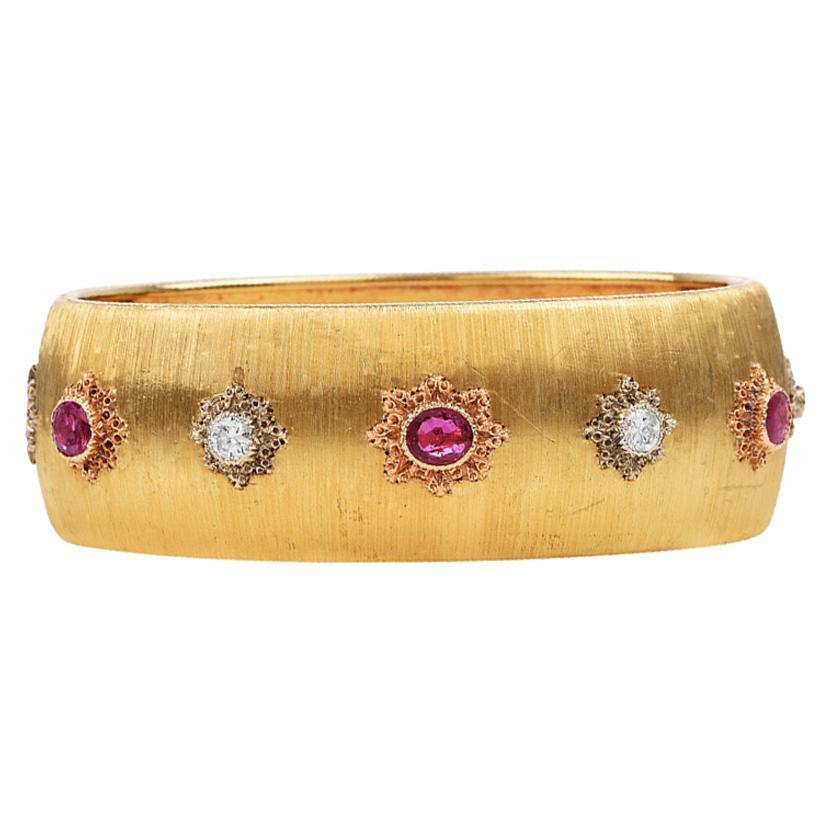 Buccellati Vintage Ruby Diamond 18k Gold Rigato Finish Cuff Bracelet